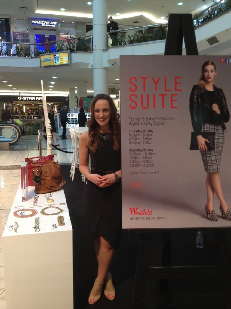 Hayley Cooper posing for Westfield's Style Suite.
