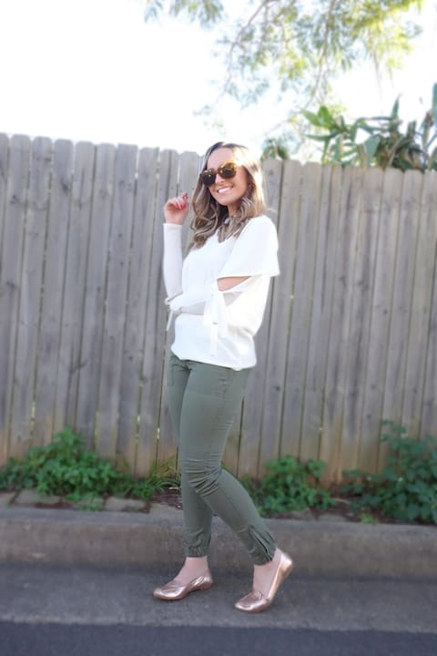 Hayley Cooper models a casual outfit.