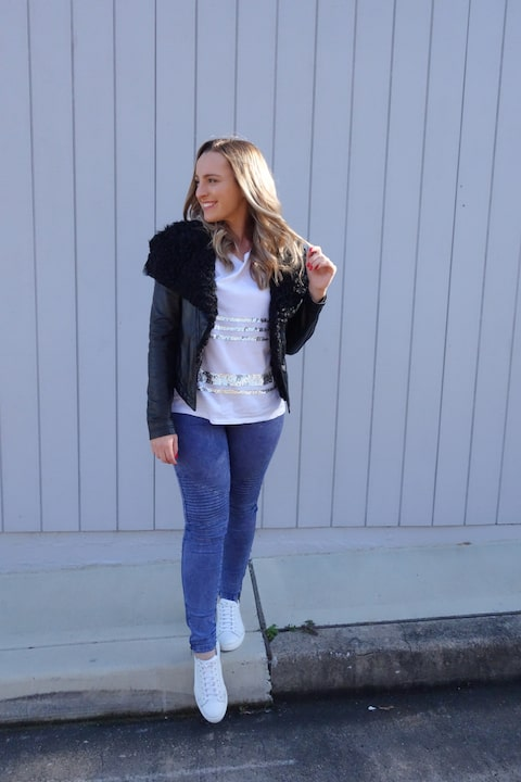 Hayley Cooper models a casual outfit