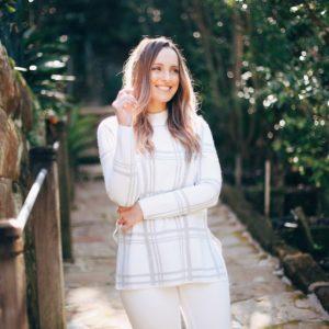 Hayley Cooper models sweater.